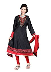 Blissta Black Semi Cotton Embroidered Anarkali Dress Material