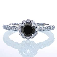 buy 1.5 Carat Round Cut Black Diamond And Diamond Flower Vintage Designer Engagement Ring On 10K White Gold