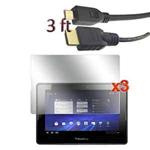 Micro HDMI to HDMI Cable 3ft & 3 Pack Crystal Clear Screen Protector For Blackberry Playbook Tablet