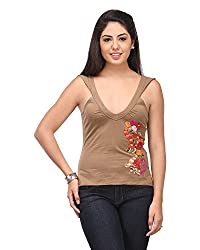 Cappadocia Women's Slim Fit Top (Cap00008 Brown_S, Brown, Small)