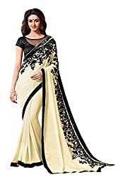 Morpankh enterprise Yellow Chiffon Saree ( flower cream saree )