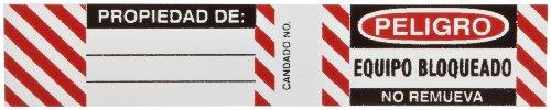 "Brady 50281 3/4"" Height, 4-1/2"" Width, B-826 Durable Vinyl, Black And Red On White Color Steel Padlock Label, Spanish, Legend ""Side 1: Peligro Equipo Bloqueado No Remueva / Side 2: Propiedad De"" (Pack Of 6)"