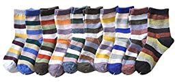 Lian LifeStyle Boy\'s 10 Pairs Pack Cashmere Wool Crew Socks Stripped Size 15-19CM