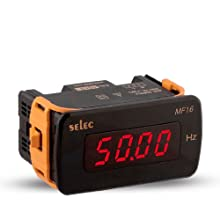 Selec MF16-110V-CU Digital Frequency Meter, 48mm x 96mm Size, 4 Digit LED Display, UL Approved, 0.01 Resolution, 110VAC