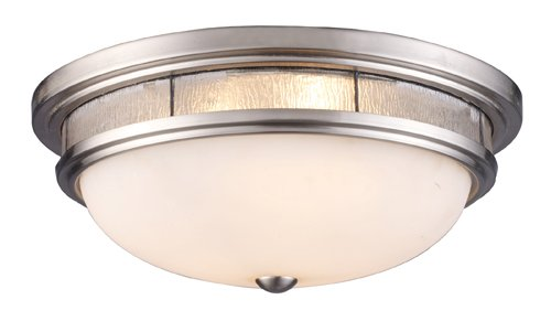 B0037U6U9U Landmark 70017-3 Tiffany 3-Light Flush Mount, 6-Inch, Satin Nickel with Clear Textured Glass