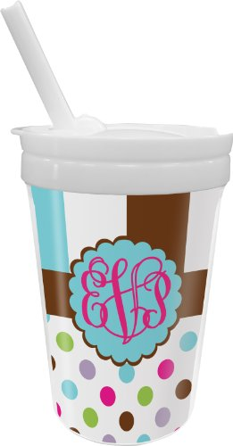 Stripes & Dots Sippy Cup With Straw (Personalized) front-649884