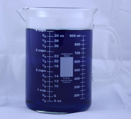 Glm105-1000S: Glass Beaker Mug With Handle And Pouring Spout 1000Ml Made In The Usa 33.8Oz