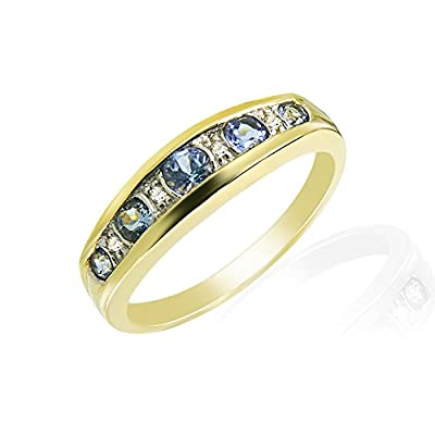 9ct Yellow Gold 0.34ct Tanzanite & Diamond Half Eternity Ring