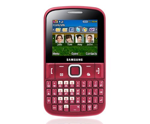 Samsung Ch@t 220 E2220 Unlocked GSM Phone with QWERTY Keyboard, VGA Camera, Video, Bluetooth, FM Radio, MP3 Player and microSD Slot - Red
