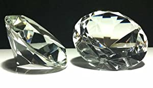 """Diamond Paperweight 80mm Clear Glass 3"""" Wide"""