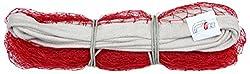 Gee Unisex Nylon Badminton Net, One side niwar tape, Red, Standard size