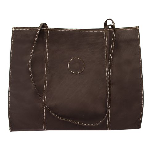 Piel Leather Carry-All Market Bag, Chocolate, One Size