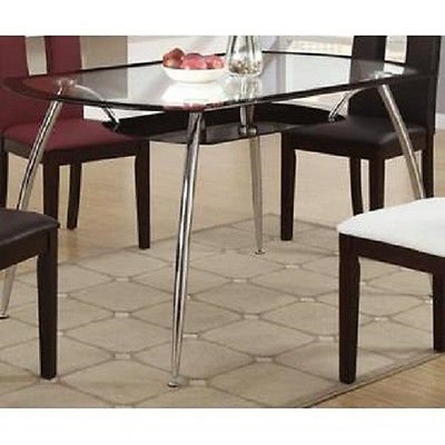 Poundex F2225 & F1052 Glass Table Top W/ Cream Leatherette Chairs Dining Set
