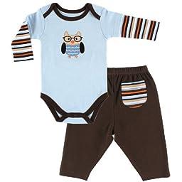 Hudson Baby Baby-Boys Long Sleeve Bodysuit and Pant Set, Owl, 9-12 Months