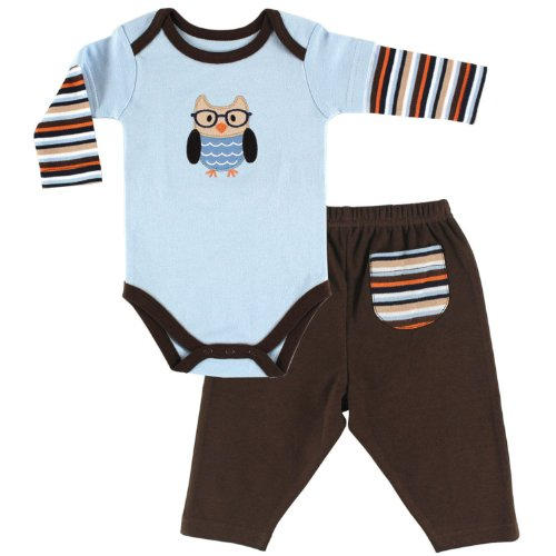 Hudson Baby Baby-Boys Long Sleeve Bodysuit and Pant Set, Owl, 9-12 Months