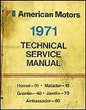 1971 AMC Repair Shop Manual Original AMX Javelin Hornet Matador Gremlin Ambassador