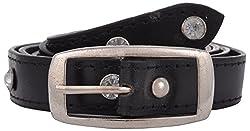 Exotique Women's Leather Belt (BW0006BK_34_Black)