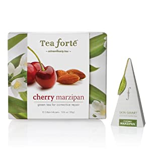 Tea Forte Petite Ribbon Box 10 Silken Pyramid Infusers Skin Smart Cherry Marzipan by Tea Forte