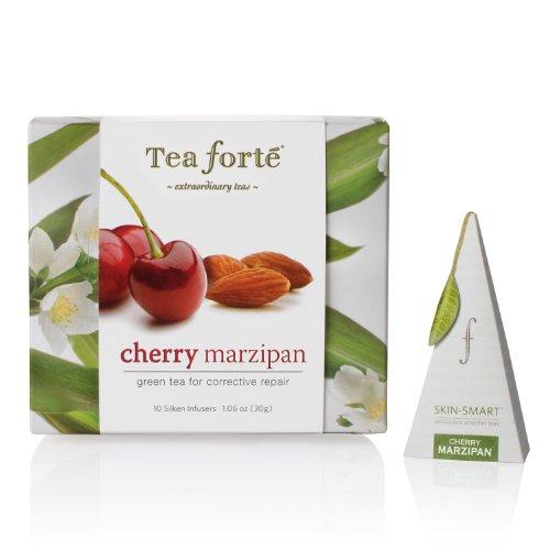 Tea Forte Petite Ribbon Box 10 Silken Pyramid Infusers Skin Smart Cherry Marzipan