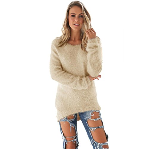 EKIMI Womens Casual Solid Long Sleeve O-Neck Jumper Sweaters Blouse (S)