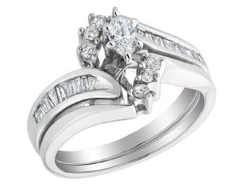 Marquise Cut Diamond Engagement Ring And Wedding Band Set 1 2 Carat