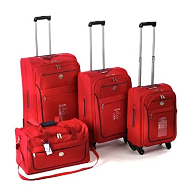 4 Piece Boston Eva Luggage Set Red with Navy Trim from Sovereign