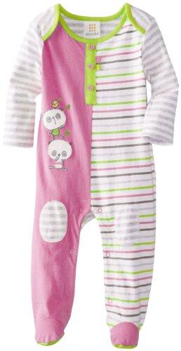 Absorba Baby-Girls Newborn Tender Touch Footie, Pink/Stripe, 3-6 Months front-841454