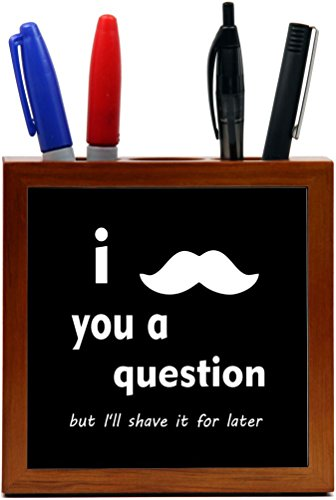 Rikki Knight 5-Inch I Mustache you a Question White on Black Design Wooden Tile Pen Holder (RK-PH1817)