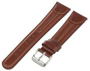 Voguestrap TX74320HN Allstrap 20mm Honey Regular-Length Double Pad Oil Leather With Tab Watchband