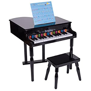 Schylling baby grand piano black toys games for Smallest baby grand piano dimensions