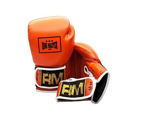 Guanti da boxe in vera pelle da allenamento boxe professionale RingMaster, colore: arancione, uomo Donna, arancione