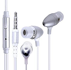 Wayzon Silver Super Acoustic Sensational Sound In Ear Stereo Hands-free Headset Headphone Earphone With Microphone Mic Suitable For Samsung Galaxy Wonder