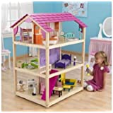 KidKraft So Chic Deluxe Pretend Play Dollhouse w/ Furniture & Doll Family