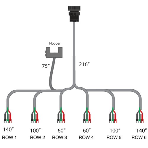 Sensor-1 6-Row Harness for Seed Flow Red Box with 3-Wire Mate-N-Lock Connectors