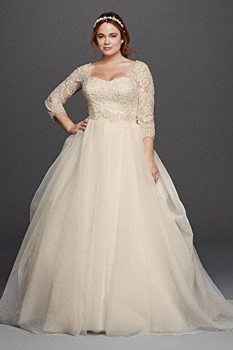Oleg Cassini Plus Size Organza 3/4 Wedding Dress Style 8CWG731, Ivory, 22W