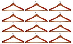 Atorakushon Pack Of 12 Pieces Wooden Hangers For Jeans Trousers Shirt Saree Salwar