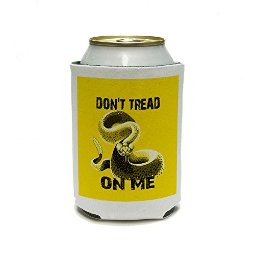 Black Yellow Gadsden Flag Don'T Tread On Me Rattlesnake Tea Party Can Cooler - Drink Insulator - Beverage Insulated Holder