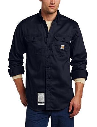 Carhartt Men's Big & Tall Flame Resistant Lightweight Twill Shirt,Dark Navy,Medium Tall