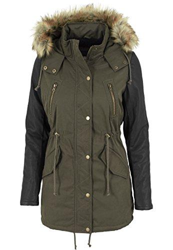 Urban Classics - Jacke Leather Imitation Sleeve Parka, Giacca Donna, Multicolore (Olv/Blk), X-Large (Taglia Produttore: X-Large)