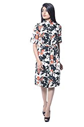 iamme Floral printed shirt dress with matching waist belt