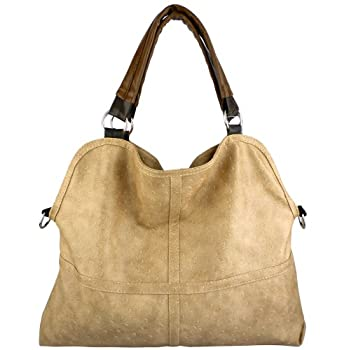 Set A Shopping Price Drop Alert For LUCIA Everyday Free Style Beige Tan Soft Embossed Ostrich Double Handle Oversized Hobo Satchel Purse Handbag Tote Bag