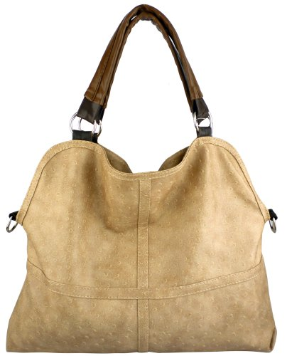 Everyday Free Style Beige Tan Soft Embossed Ostrich Double Handle Oversized Hobo Satchel Purse Handbag Tote Bag