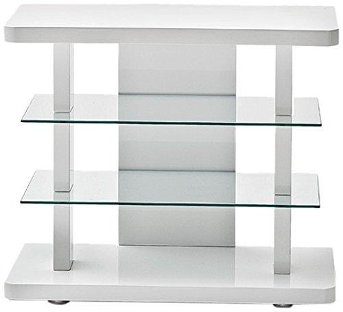 Robas Lund 59079W17 TV-mueble Tower, blanco brillante, 2 estantes de vidrio, B/T/H aproximadamente 80 x 40 x 68 cm