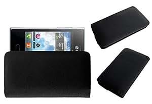 Acm Rich Leather Soft Case For Lg Optimus L3 Dual E405 Mobile Handpouch Cover Carry Black