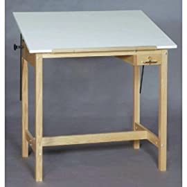 WOOD 4 POST TABLE 36x60x37h Drafting, Engineering, Art (General Catalog)