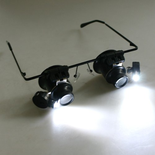 TOMTOP Watch Repair Magnifier Loupe 20X Glasses With LED Light