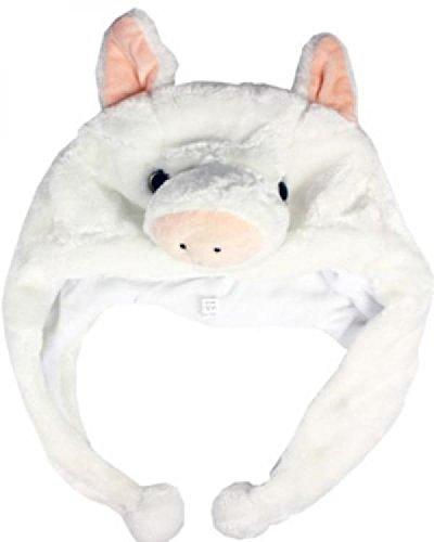 pig-white-cute-cartoon-animal-winter-hat-plush-warm-fluffy-soft-lovely-unisex-us-seller
