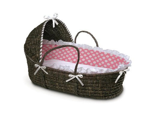 Check Out This Badger Basket Moses Basket with Polka Dot Hood and Bedding, Espresso/Pink