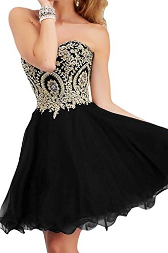 Manfei Short Prom Dress Bridesmaid Party Gowns Gold Appliques Black Size 6 (Amazon Short Prom Dresses compare prices)