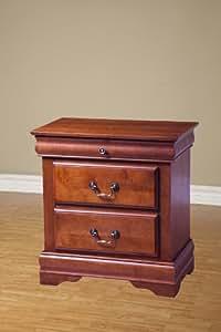 Alpine Furniture Louis Philippe I 3-Drawer Nightstand - Medium Cherry